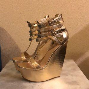 Gold platform wedges / *worn once*